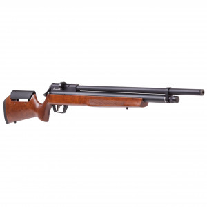 AIRGUN BENJAMIN MARAUDER .22 WOOD BP2264W Benjamin Marauder PCP 22 Caliber Air Rifle features an wood stock with ambidextrous raised comb and reversible bolt handle. Weighing a little more than seven pounds, and affixed with choked barrel, the rifle can fire pellets with higher accuracy. The magazine has a pellet capacity of 10 pellets with auto indexing feature, which can fire .22 caliber lead pellets at the speed of 1,000 feet per second. This rifle is ideal for small game hunting and plinking. The .22 Caliber Air Rifle designed to operate on compressed air as well as CO2. Its built-in pressure gauge helps to quickly connect and disconnect stock for faster re-fills. Don?t forget spare mags #RC2210 and Benjamin 22cal pellets!Key Specifications: Pellet velocity: up to 1000fps Caliber: .22 caliber Power source: Pre-Charged Pneumatic (PCP) Mechanism: Bolt Action Ammo type: shoots .22cal pellet only Capacity: ten shot magazine Barrel: Rifled barrel Stock Material: Synthetic Safety: Lever