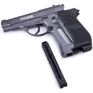 """CO2-powered Uses 12-gram CO2 cartridges Shoots steel BBs Compact design 20-shot spring-activated removable BB mag Fixed front and rear sights Full metal Caliber .177"""" (4.5mm) Max Velocity 400 fps Stock Synthetic Grip Ambi Color Black"""