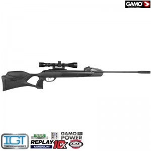 airgun gamo replay-10 magnum 5.5 Caliber: 5.5 mm / .22 Power source: Spring piston Energy (Joule / ft.lb):45 / 33.2 Velocity (m/s):380 Cocking system:Break barrel Magazine Capacity:10 Safety:Yes Weight (gram):3100 Barrel Length (mm):510 Total length (mm):1210 Sights:No open sights Riflescope included:Yes Mounting rail:Dovetail (11mm) Stock:Ambidextrous Stock material:Synthetic