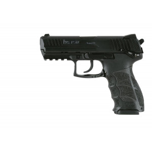airgun heckler & koch p30 4.5 Dual ammunition: shoots either .177 caliber pellets or .177 caliber steel BBs; Velocity: 360-395 fps Utilizes an 8-shot rotary mag for pellets and a drop-out mag for BBs Ambidextrous mag release and integrated accessory mounting platform just as they are on the original P30 Powered by economical and easy-to-find 12-gram CO2 cartridges Near true to weight and feel; Made in Germany HandK .177 Pellet Pistol Drop out 15-round magazine also holds CO2 cylinder