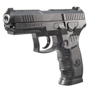airgun jericho b 4.5 mm 5.8174 Caliber 4,5 MM (.177) STEEL BB Magazine Capacity 23 SHOT(S) Length 190 MM Weight 548 G Trigger DOUBLE-ACTION