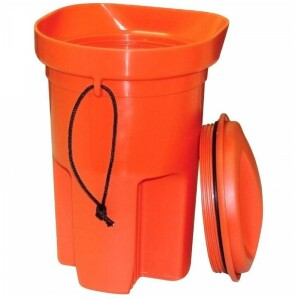 his boat bailer has a screw top lid with O-ring gasket that makes the perfect dry storage box for essential emergency gear.